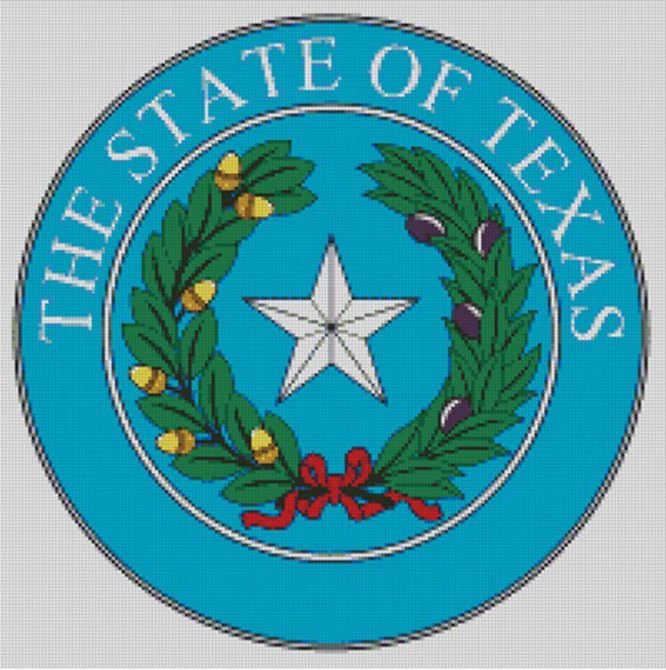 Cross stitch chart, pattern, Texas, State, Seal, Emblem