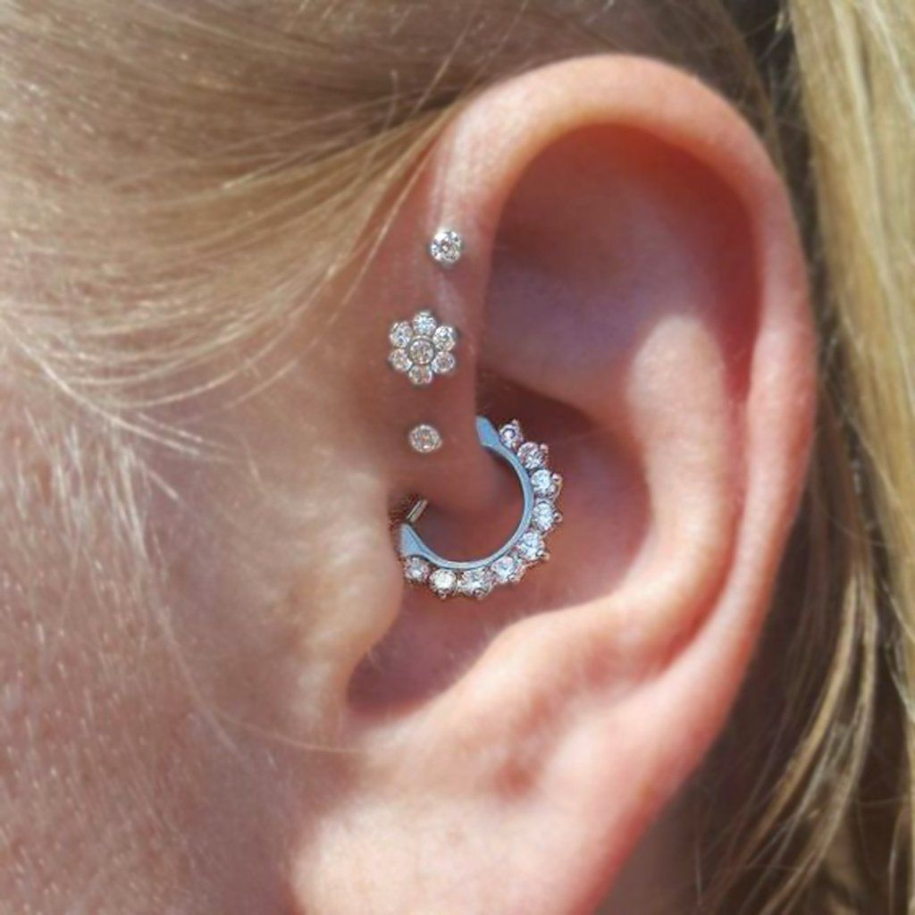 Piercing ideas body  Brice Swarovski Crystal Daith Piercing Clicker in Silver  Piercings