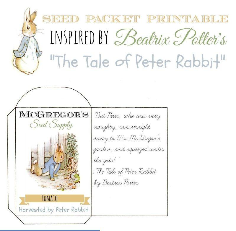 Printable Seed Packets Peter Rabbit\'s Garden   Beatrix Potter ...