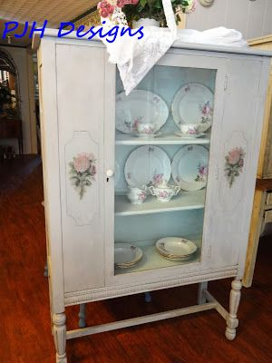 Refurbished Antique, China Cabinet Tutorial With Annie Sloan Chalk Paint.  Painting Antique Furniture,