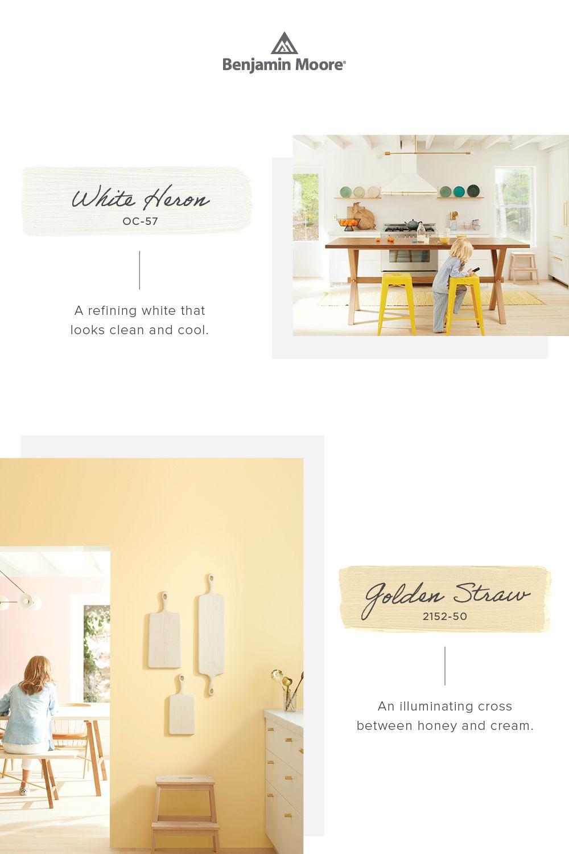 Color Trends 2020 White Heron Golden Straw Pairing In 2020 Paint Colors For Living Room Paint Colors For Home Benjamin Moore Colors
