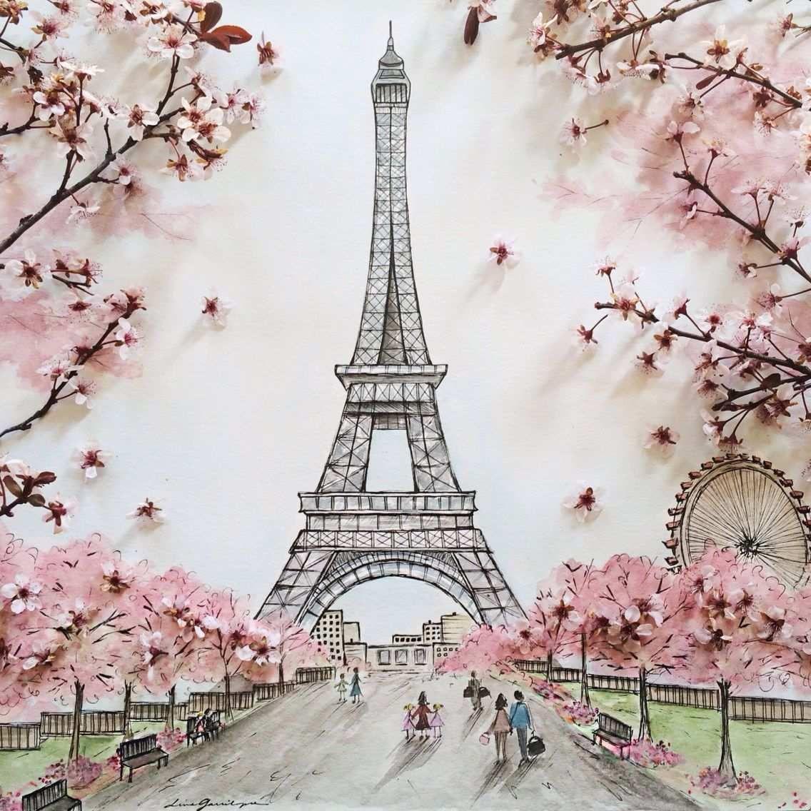 Paris Painting Beautiful Eiffel Tower Watercolor Paris