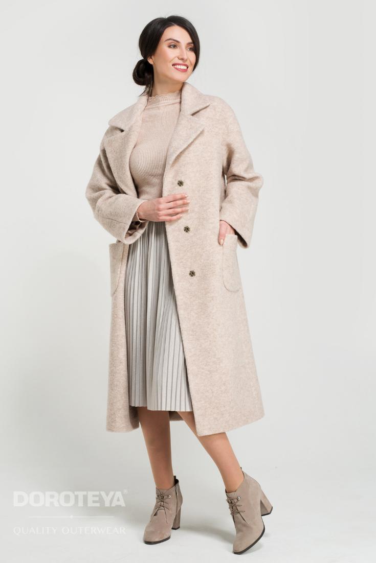3a89bb7878c Весеннее женское пальто бежевого цвета с лацканами из новой коллекции  Доротея Весна 2019.