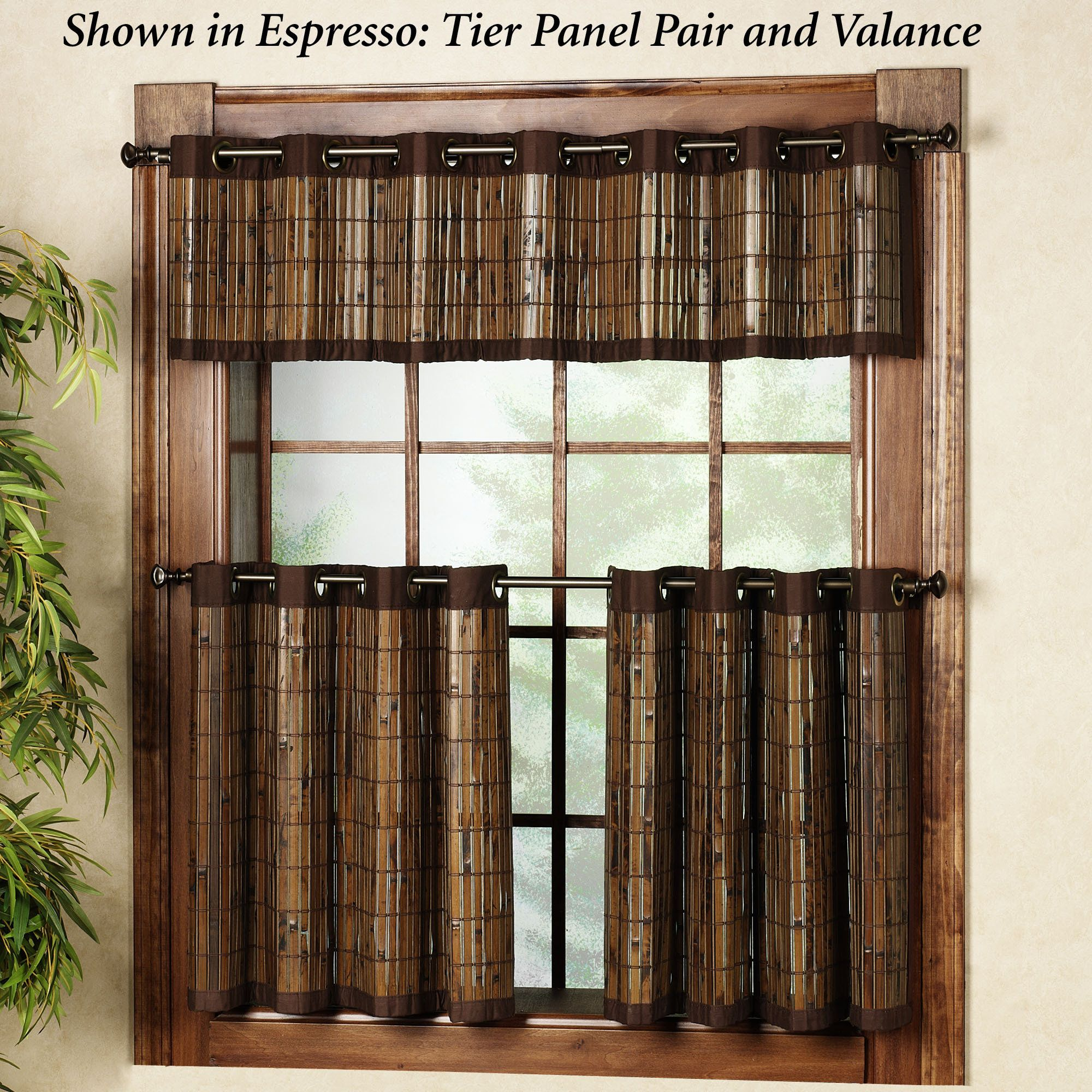 Bamboo Grommet Tier And Valance Window Treatment