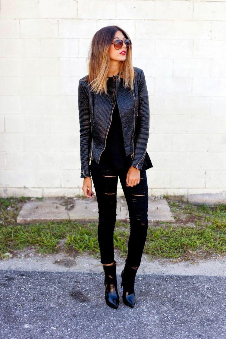 Veste en cuir femme idées cool de tenues automne clothes