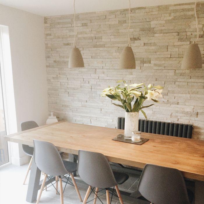 Ivory Split Face Mosaic Tiles Large Feature Wall Living Room Dining Room Feature Wall Living Room Tiles