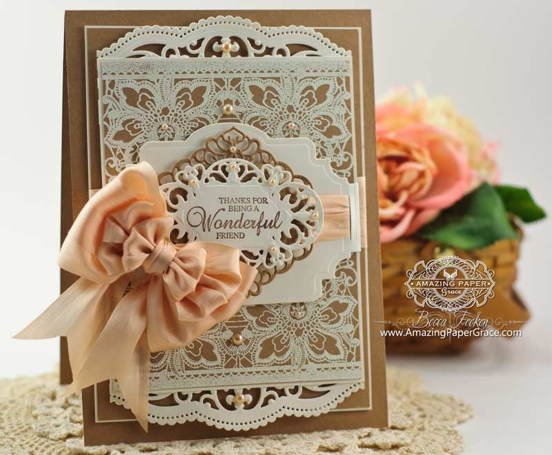 Marvelous Card Making Ideas Using Dies Part - 11: Card Making Ideas By Becca Feeken Using JustRite Floral Lace Vintage Tag  Background And Spellbinders Belly