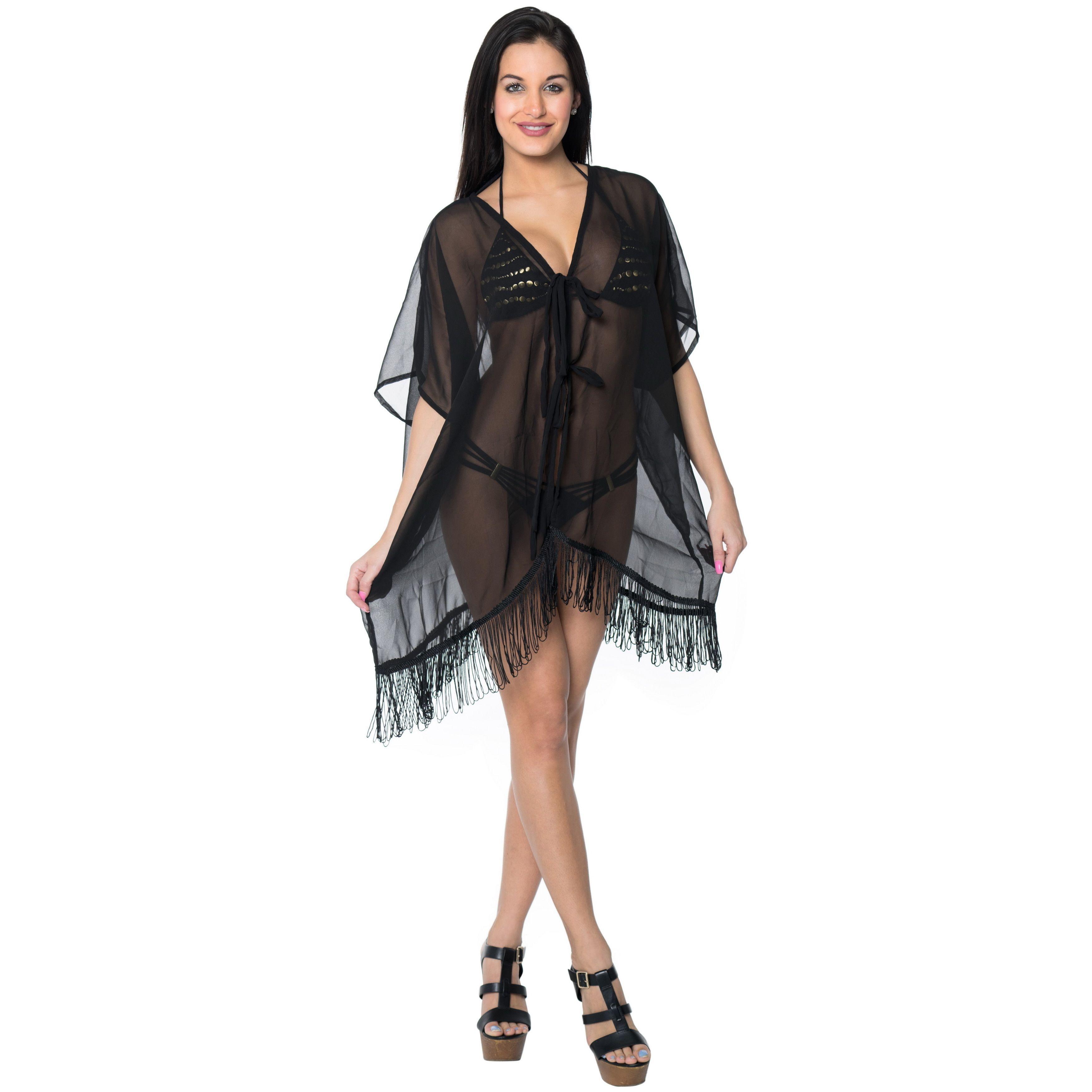 La leela lightweight chiffon bikini cover up kaftan swimsuit robe
