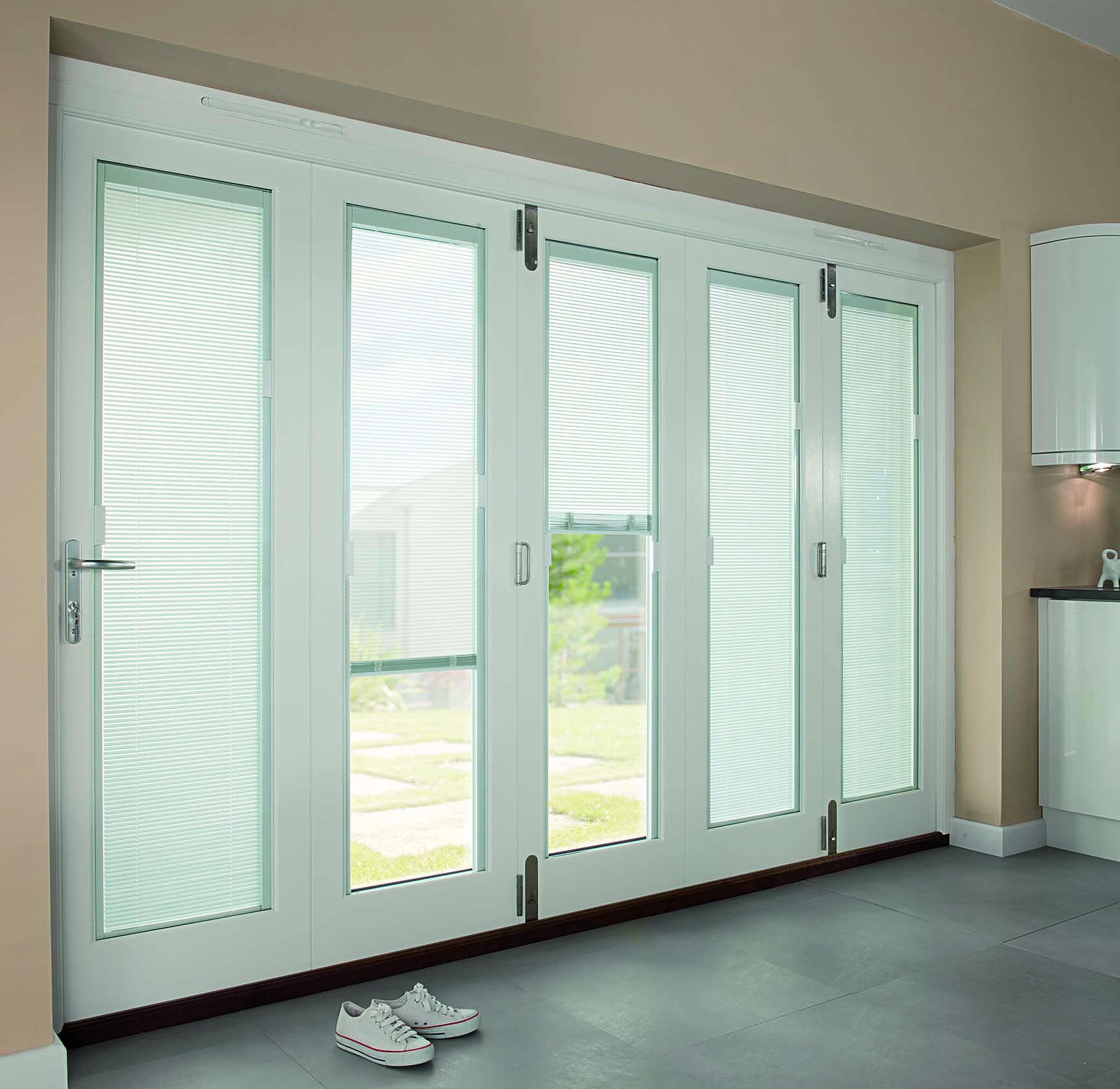 Exterior Interior Modern White Wooden Patio Doors With Internal