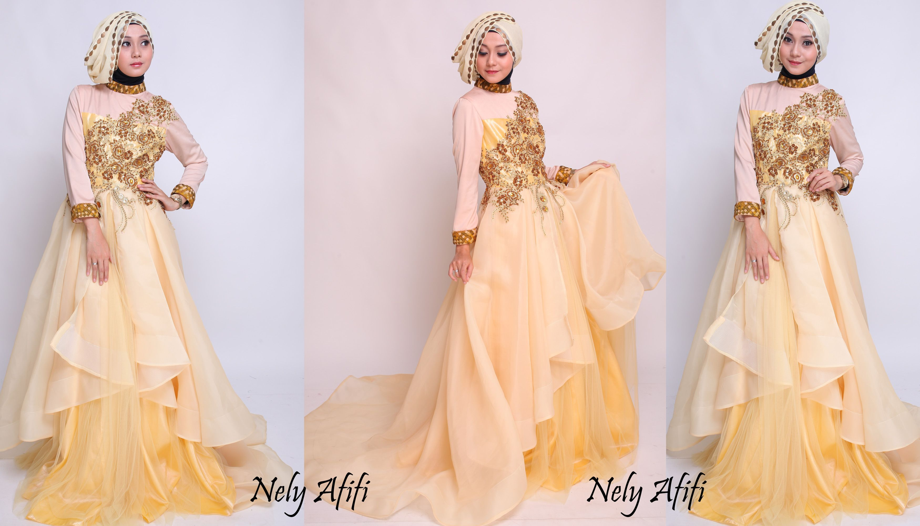 wedding dress muslimah organza gold by Nely Afifi Baju pesta