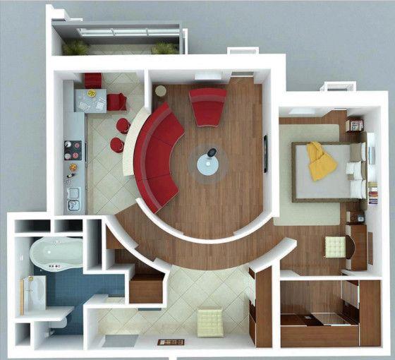 Plano de apartamento pequeño moderno