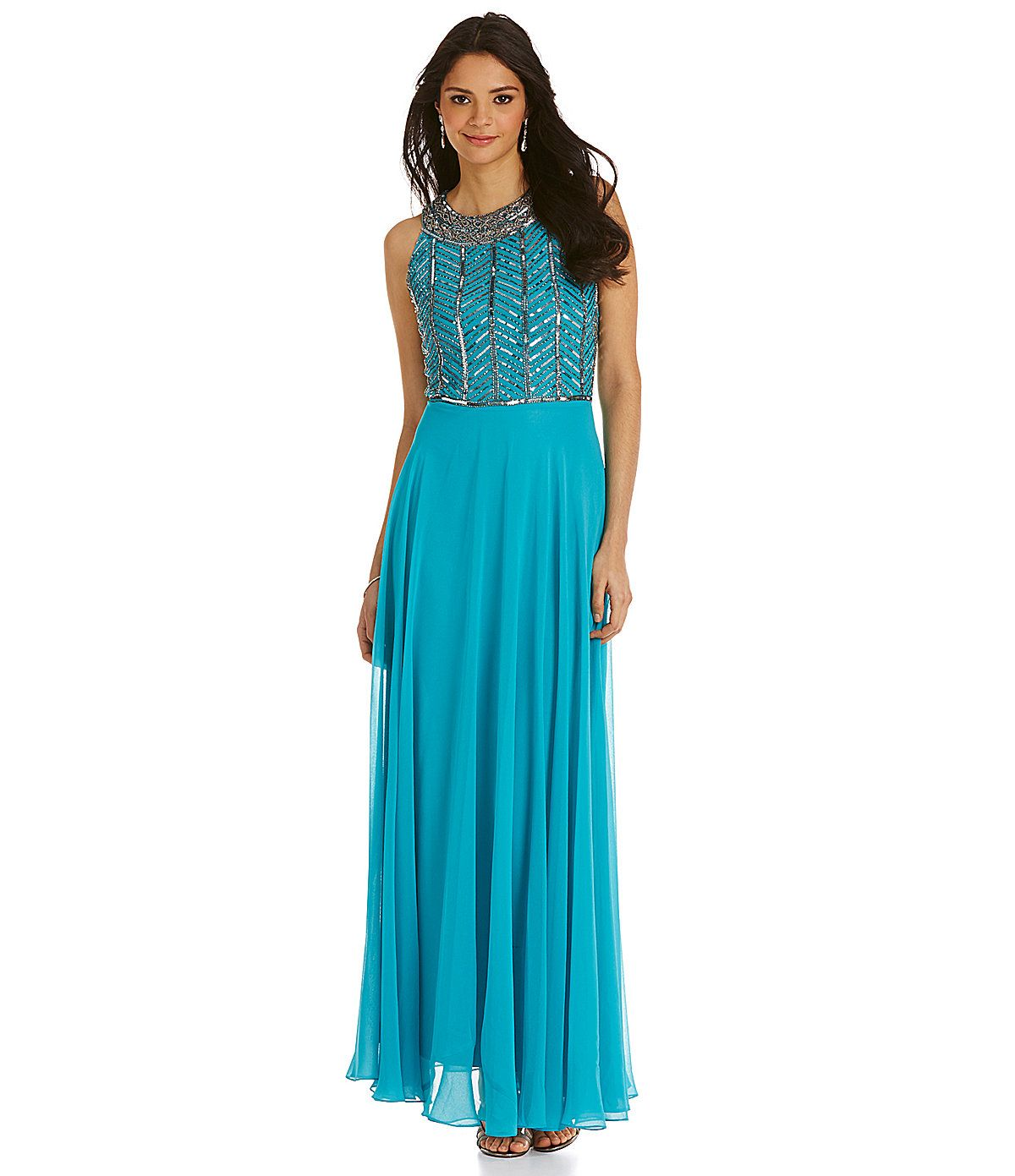Jkara Beaded Necklace Neckline Gown | Dillards.com $278 | Formal ...
