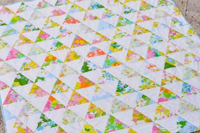 Mia Dolce Originals - Modern Quilts and DIY Projects: Groovy Triangles Vintage Sheet Quilt