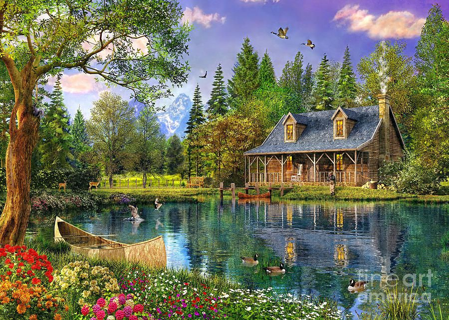 Crystal lake cabin digital art by dominic davison art Fine art america