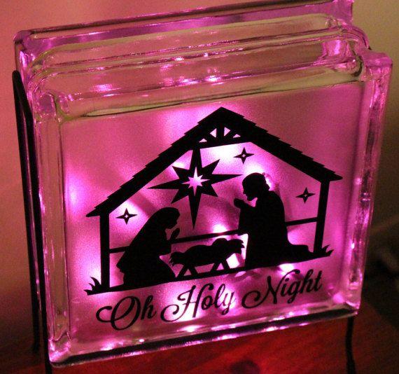 Nativity Scene Glass Block Light Christmas Lights Lighting - Nativity vinyl decal for glass block light