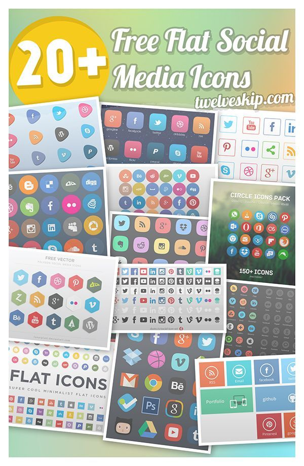20+ Free Highquality Sets Of Flat Social Media Icons