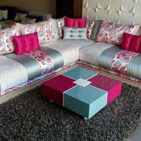 coin salon marocain rose- bleu- blanc en 2019 | Salon ...
