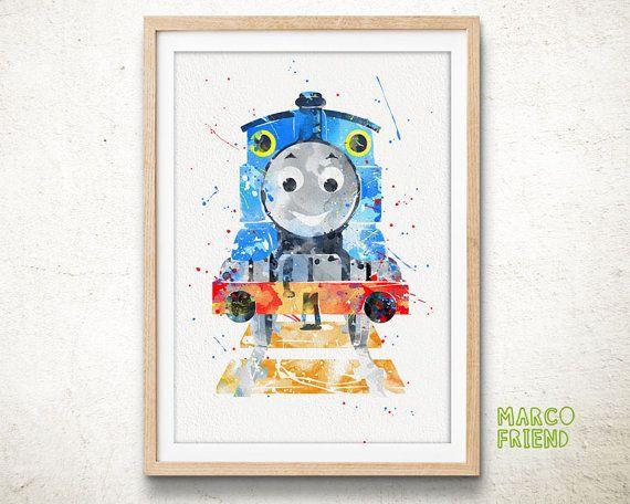 Thomas the Tank Engine Watercolor Poster Print - Wall Art ...