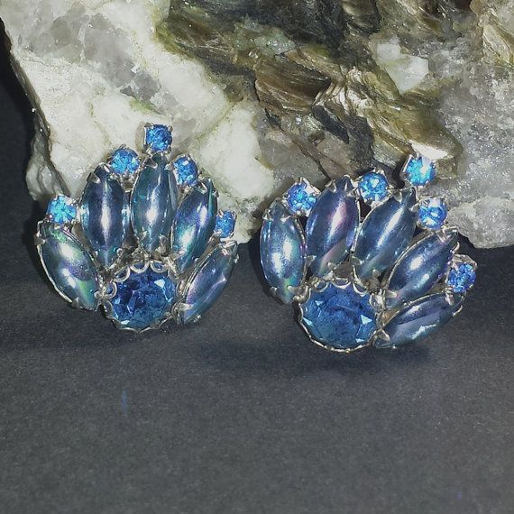 Vintage Blue Glass Rhinestone Earrings / 1940s by GypsumMoonStyle