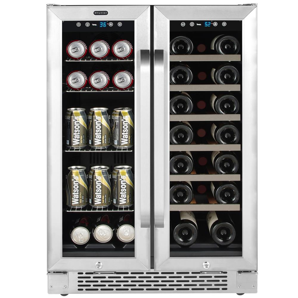 Whynter 24 In Built In French Door Dual Zone 20 Bottle Wine And 60 Can Beverage Cooler Black Beverage Refrigerator Beverage Cooler Beverage Center