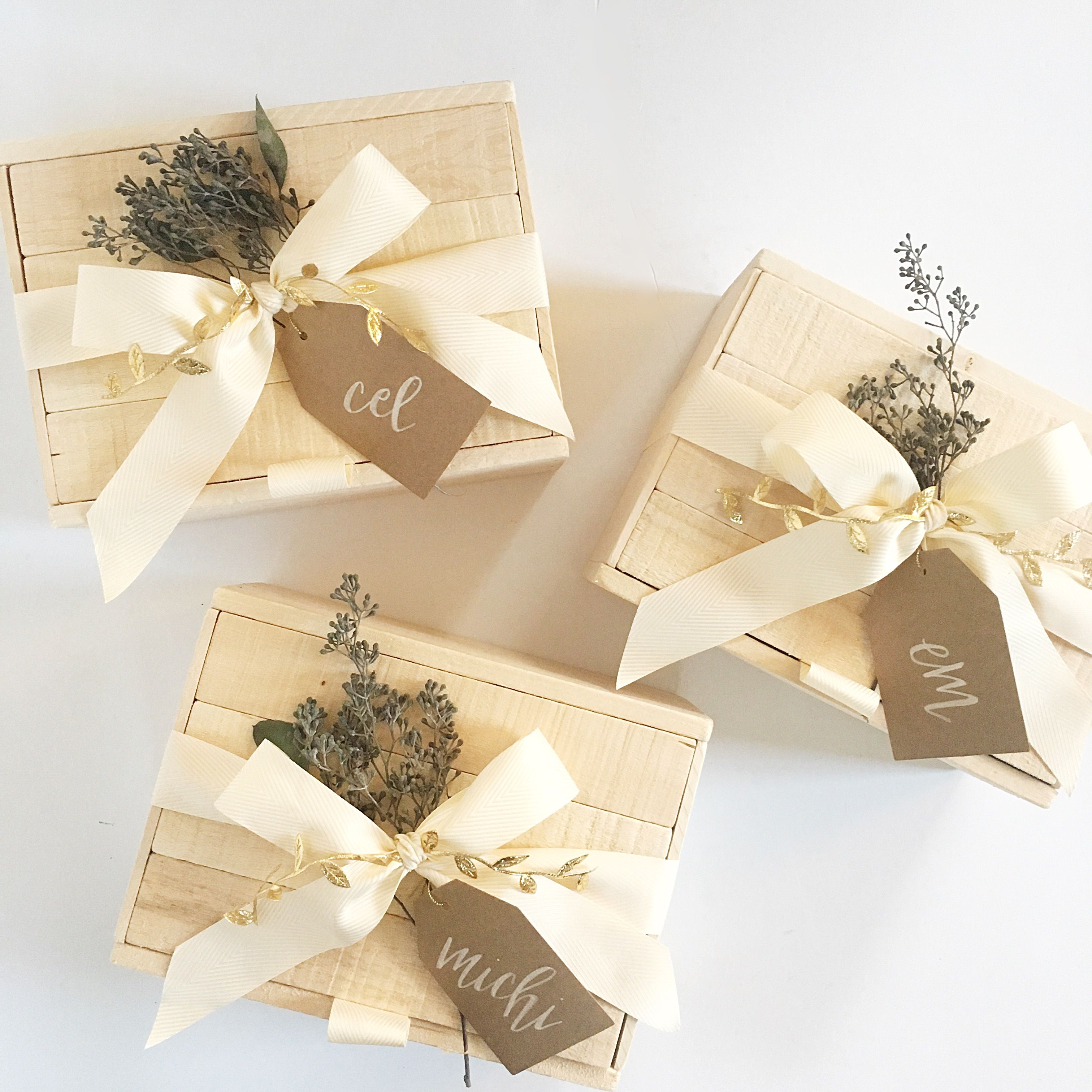 Wooden gift box packaging with calligraphy tag by Box and