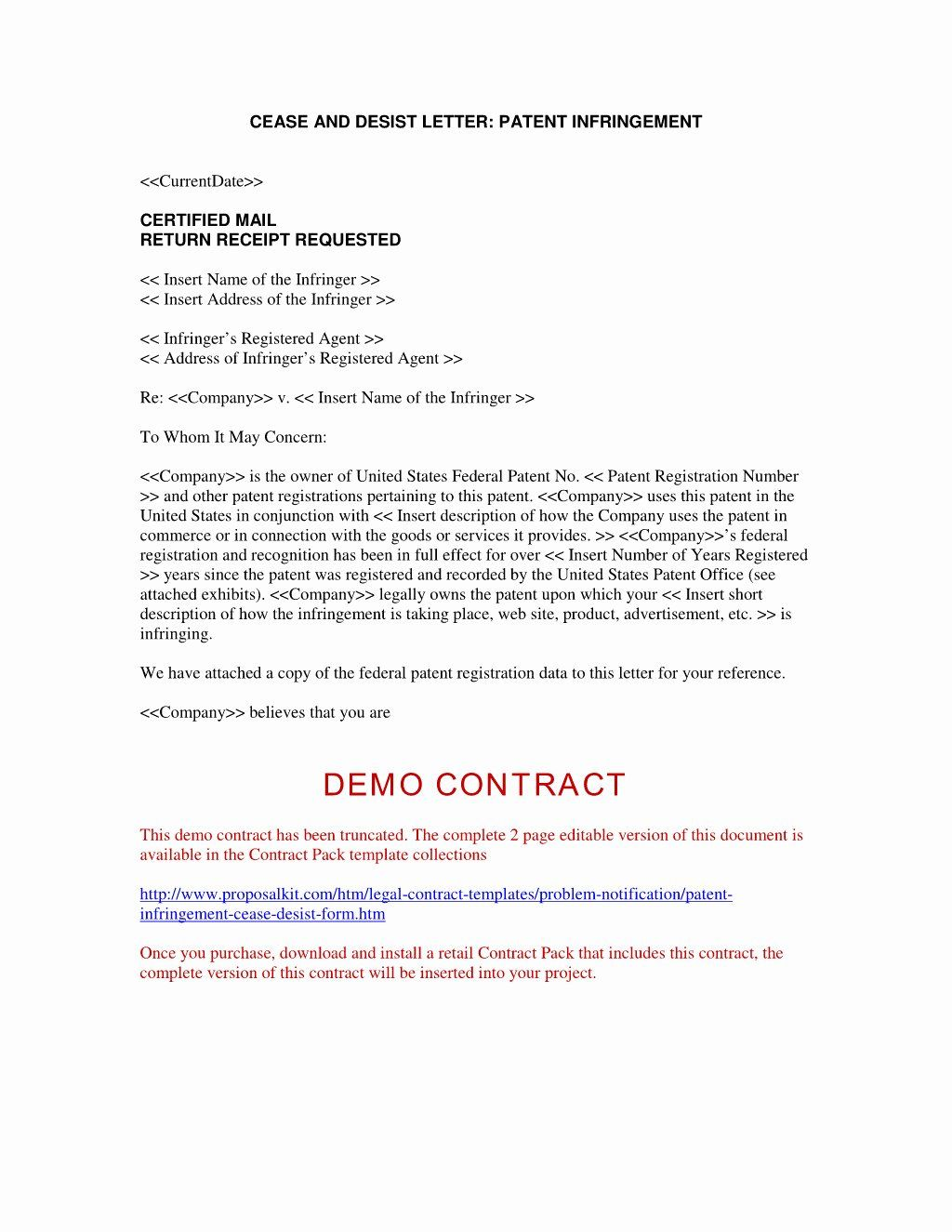 Patent Infringement Cease And Desist Letter Sample from i.pinimg.com
