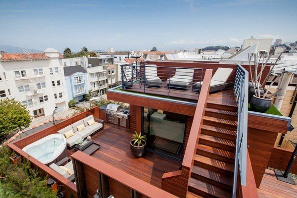 unique rooftop deck ideas two levels roof deck jacuzzi outdoor ...