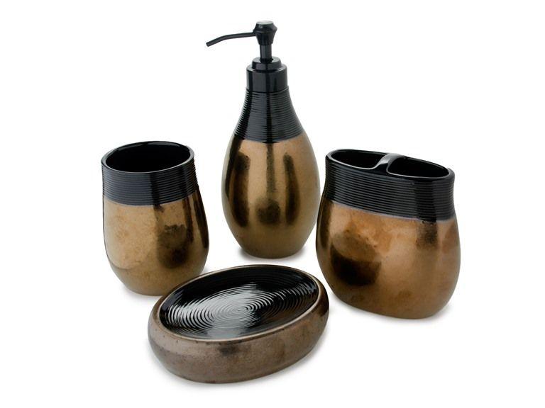 Nicole Miller Wild At Heart Bath Set   Bathroom Accessories In Metallic  Gold U0026 Brown