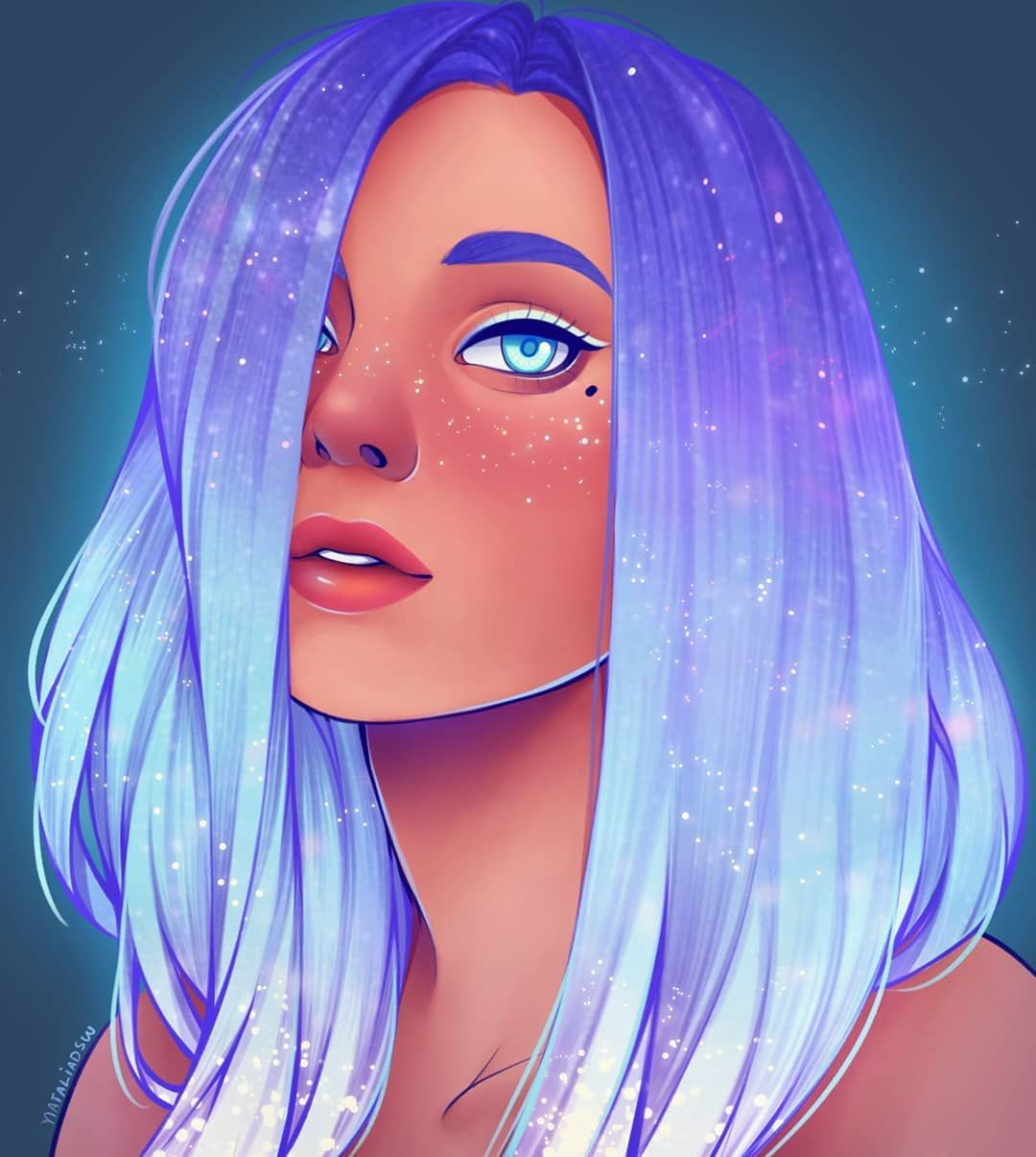 Natalia Dias On Instagram Today S Drawing Is Just Because I Wanted To Do Some Shiny Hair I Ho Digital Art Girl Girls Cartoon Art Digital Portrait Art