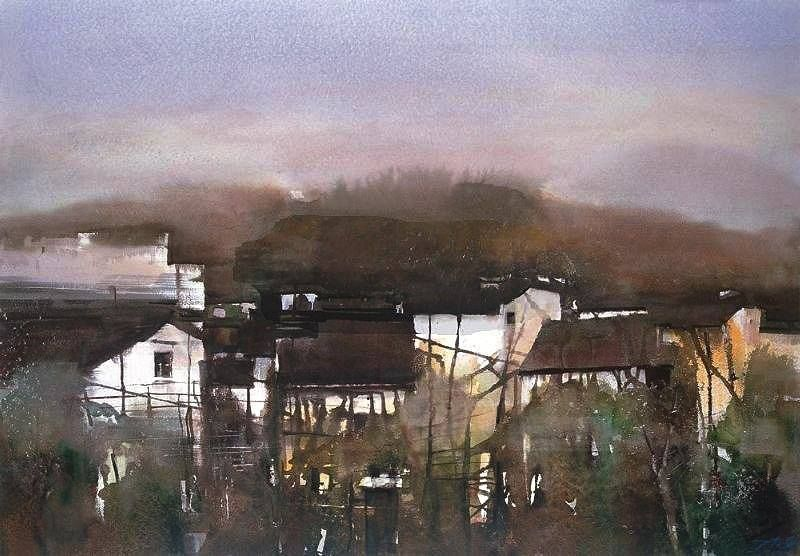 丁寺钟 / Ding Sizhong (b. 1963, China) Sunset Glow. 2007 watercolour.