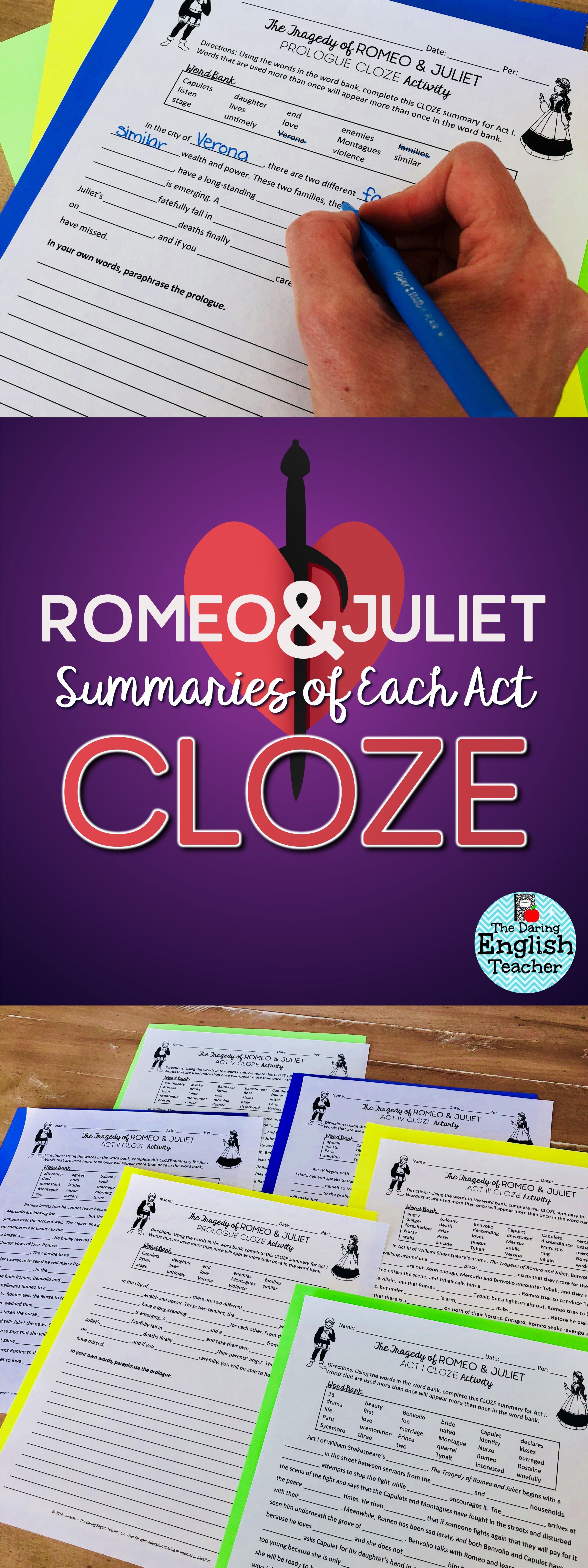 Romeo And Juliet Cloze Summary Passage English Teacher High School Teaching Shakespeare In Text Citation Paraphrase