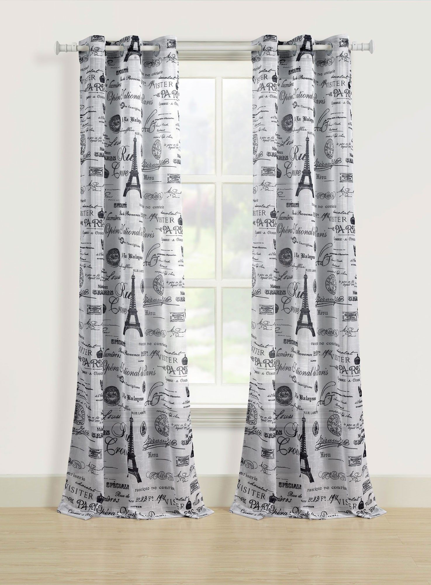 Beatrice Paris Sheer Window Curtains 84 Black White Eiffel Tower