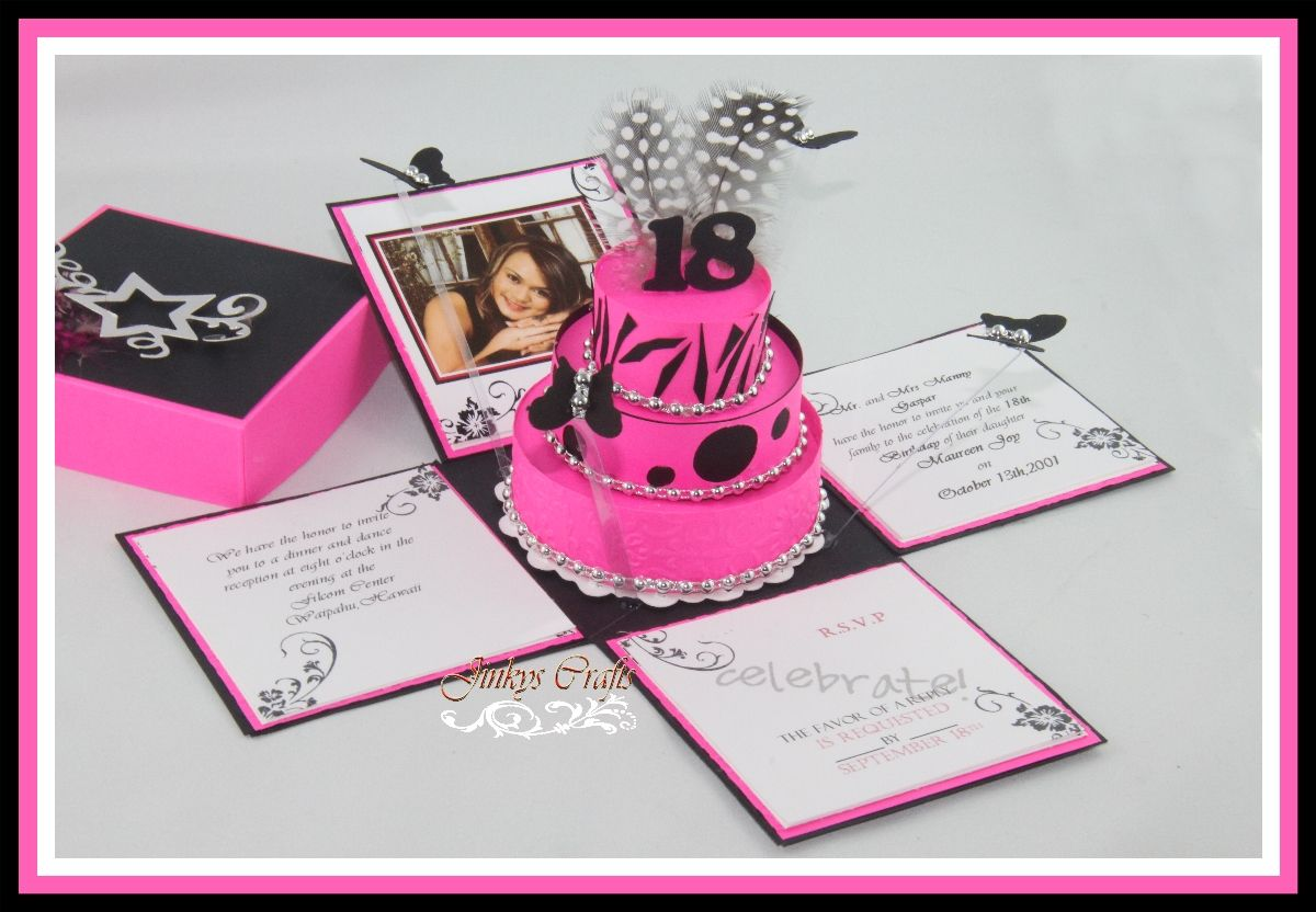 Birthday explosion box bjl anything but a card pinterest hot pink black birthday exploding box invitation kit set of 10 stopboris Choice Image