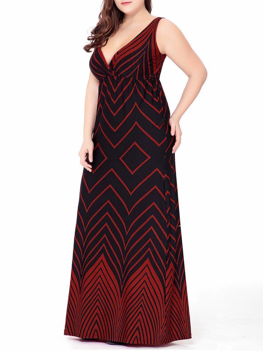 0432f139f2 Zigzag Plus Size Plunge Maxi Beach Dress | Plus size clothing for ...