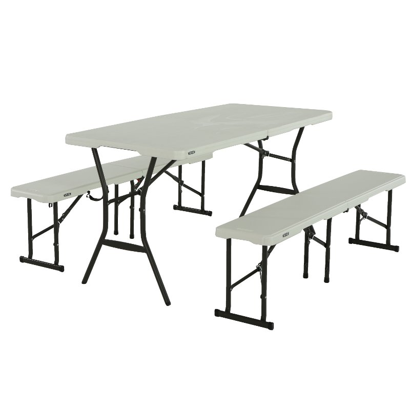 Lifetime 5 Foot Fold In Half Recreation Table Set White Table
