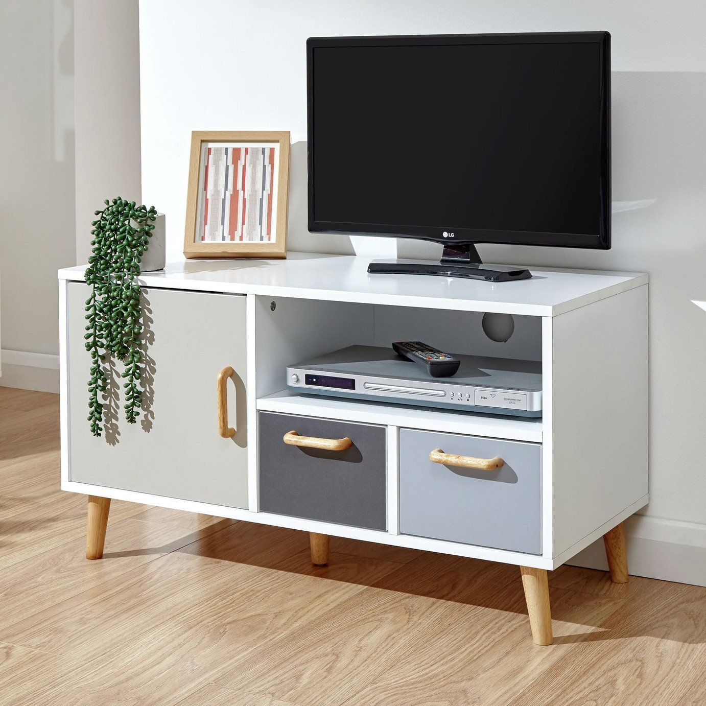 Delta 1 Door 2 Drawer Small Tv Unit Grey White In 2020 Small Tv Unit Small Tv Stand Tv Unit Furniture