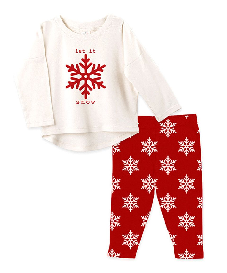 Another great find on #zulily! Tesa Babe Ivory & Red Snowflake 'Let It Snow' Top & Leggings - Infant by Tesa Babe #zulilyfinds
