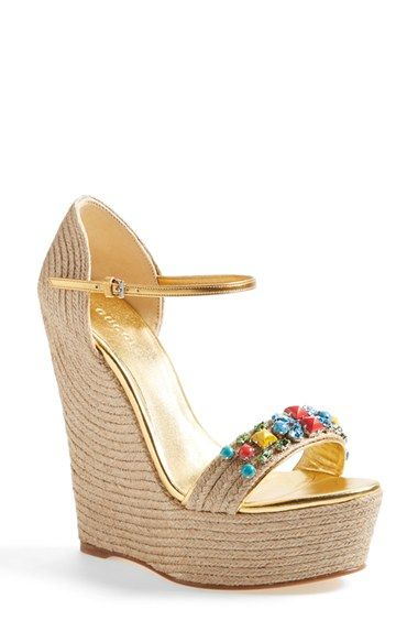 dd9b9c3020f Gucci  Carolina  Jeweled Wedge Sandal (Women) available at  Nordstrom
