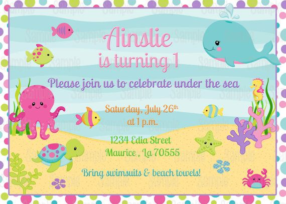 Printable Girl Under The Sea Birthday Invitation Plus FREE Blank Matching Thank You Card