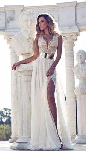 Belt: dress, white dress, gold, prom dress, cream, slit leg, gold ...
