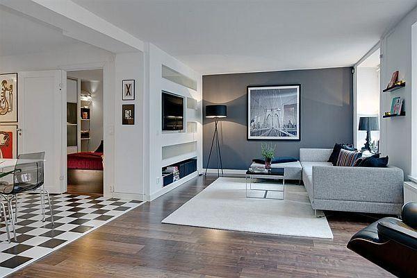Apartments, Striking Color In Neutral Apartment Interior Design