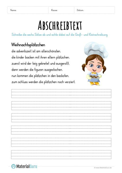 Arbeitsblatt Text Abschreiben Weihnachtsplätzchen Deutsch 2
