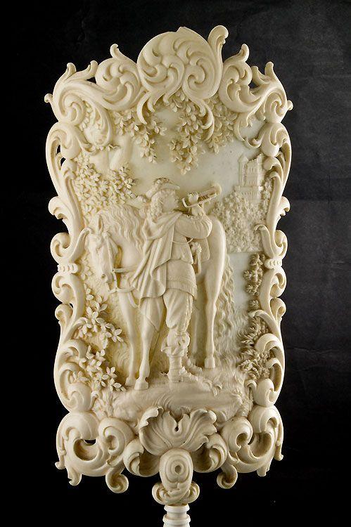 An Antique German miniture ivory fire screen