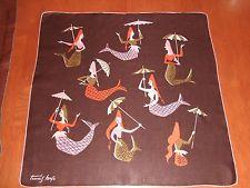 RARE Vintage Tammis Keefe Mermaids with Umbrellas Hanky