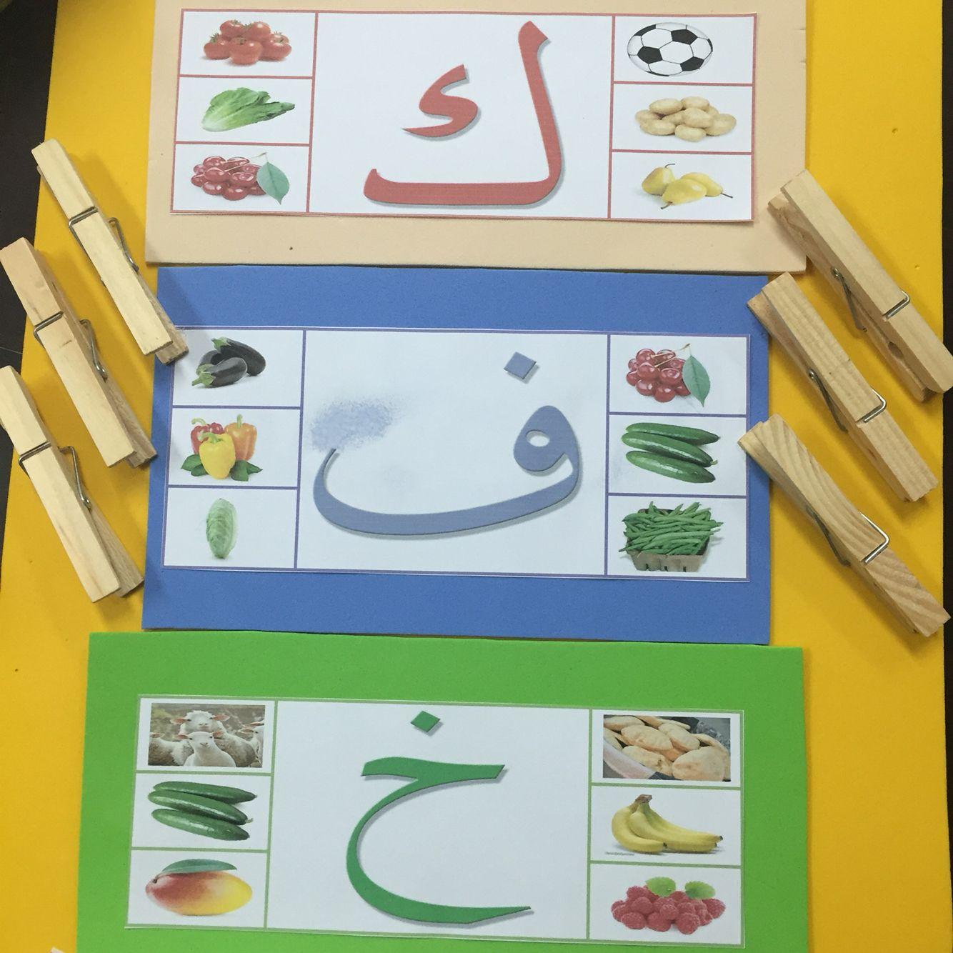 تقوم المعلمة بعرض النشاط على الأطفال وهو أن مجموعه من الأحرف مرفقة بصور وتختار الكلمات التي تبدأ بنفس الحرف ا Arabic Kids Learn Arabic Alphabet Learning Arabic