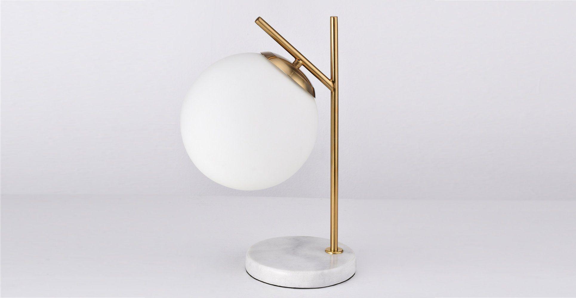 Opale Lampe De Table Sphere Blanche Marbre Laiton Lampe De Bureau Luminaire Lampes De Table