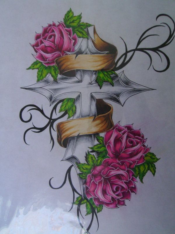 Rose With Banner Tattoos: Cross Banner Rose Tattoo Flash By