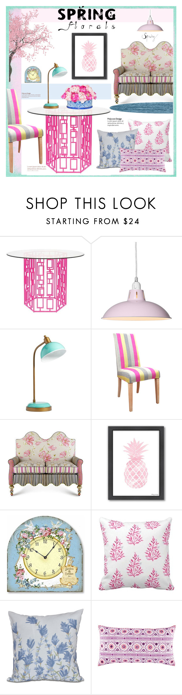 """""""Spring Florals"""" by patrizia-brasil ❤ liked on Polyvore featuring interior, interiors, interior design, home, home decor, interior decorating, PBteen, Multiyork, MacKenzie-Childs and Americanflat"""