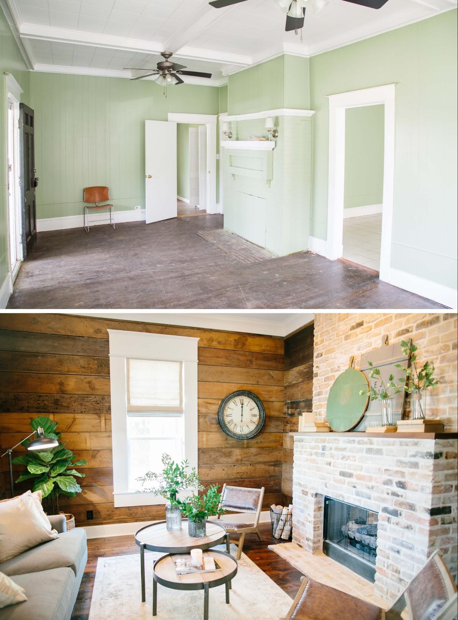 I Love That This Shiplap Wall Is Stained Not Painted Joannagaines Fixerupper