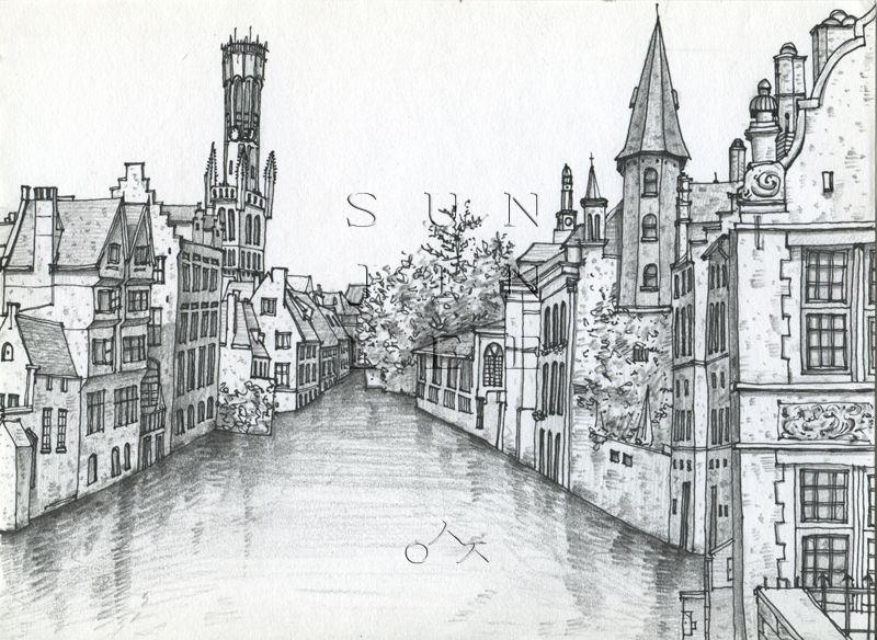 Bruges Brugge Tekenen En Steden